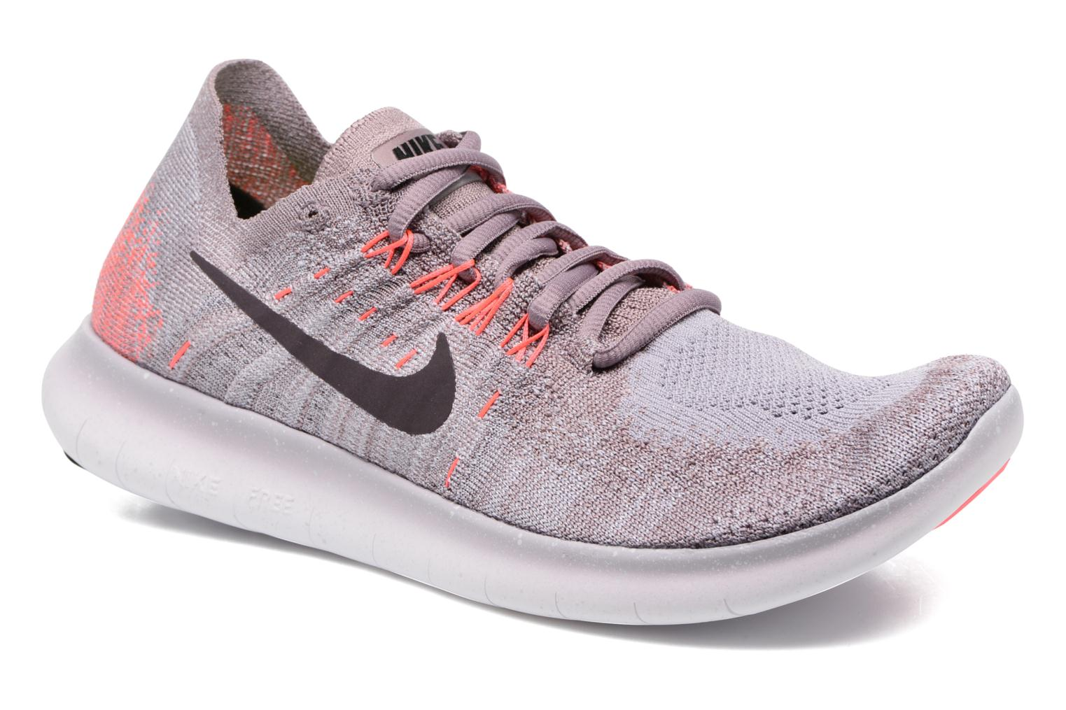 Wmns Nike free Rn Flyknit 2017 Taupe Grey/Port Wine-Solar Red