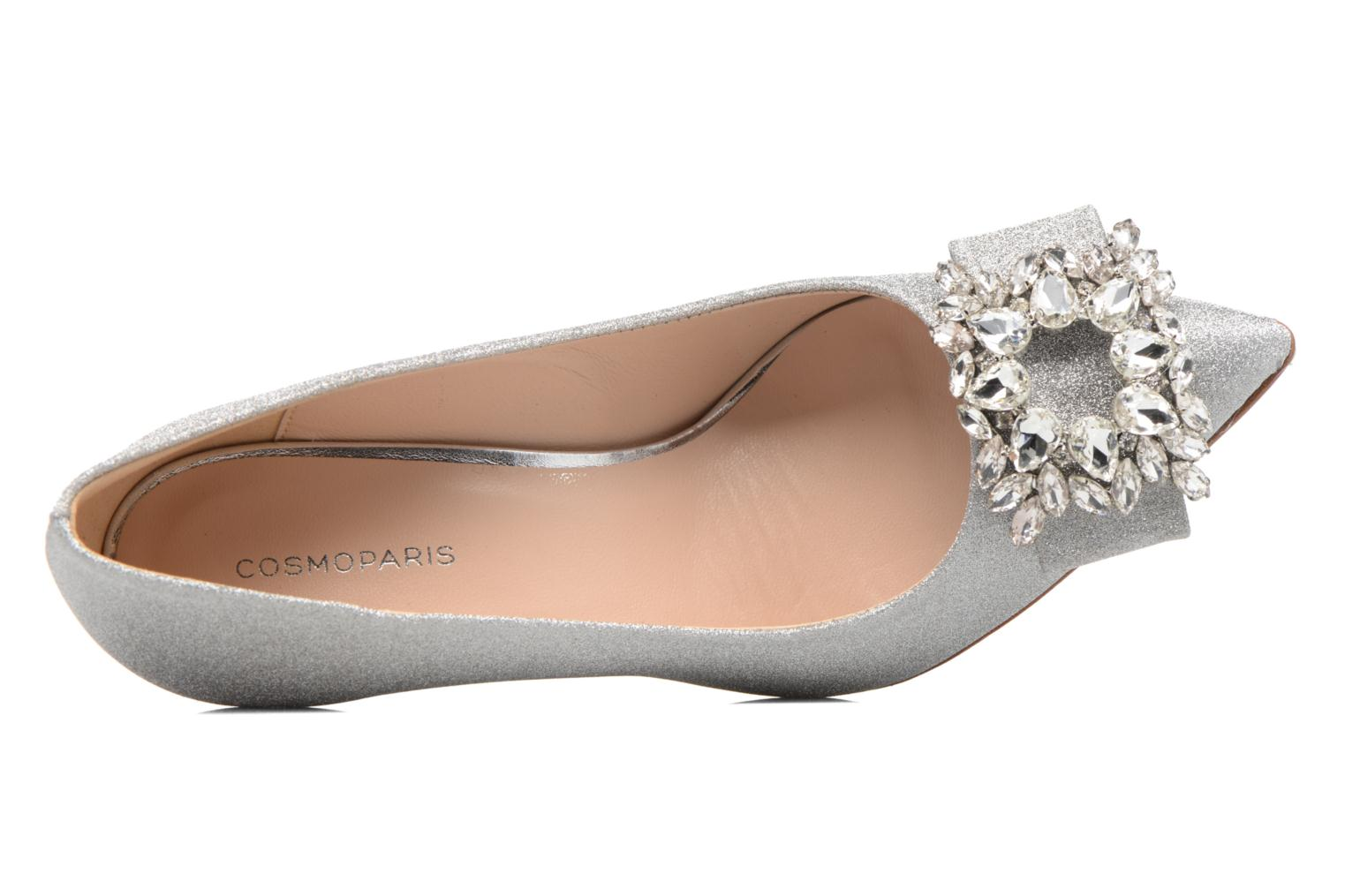 High heels COSMOPARIS Manifika/Diam Silver view from the left
