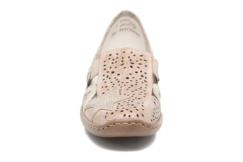 Mocassins Rieker Staf 48385 Beige vue portées chaussures