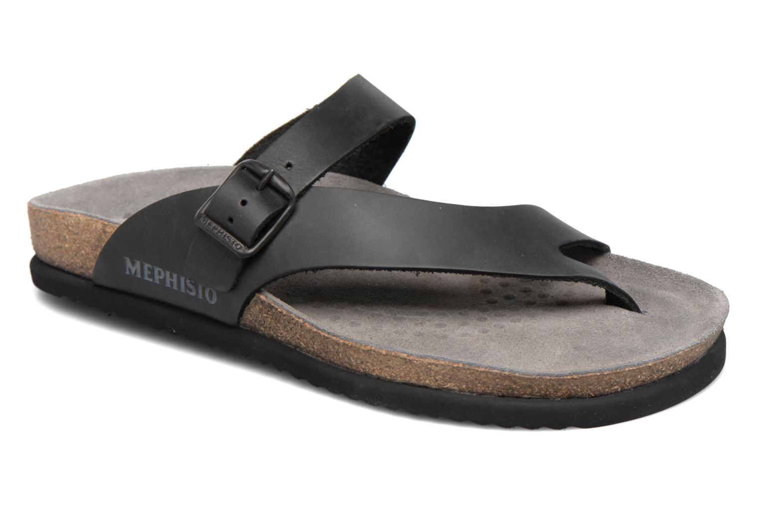 Flip flops Mephisto Niels Black detailed view/ Pair view