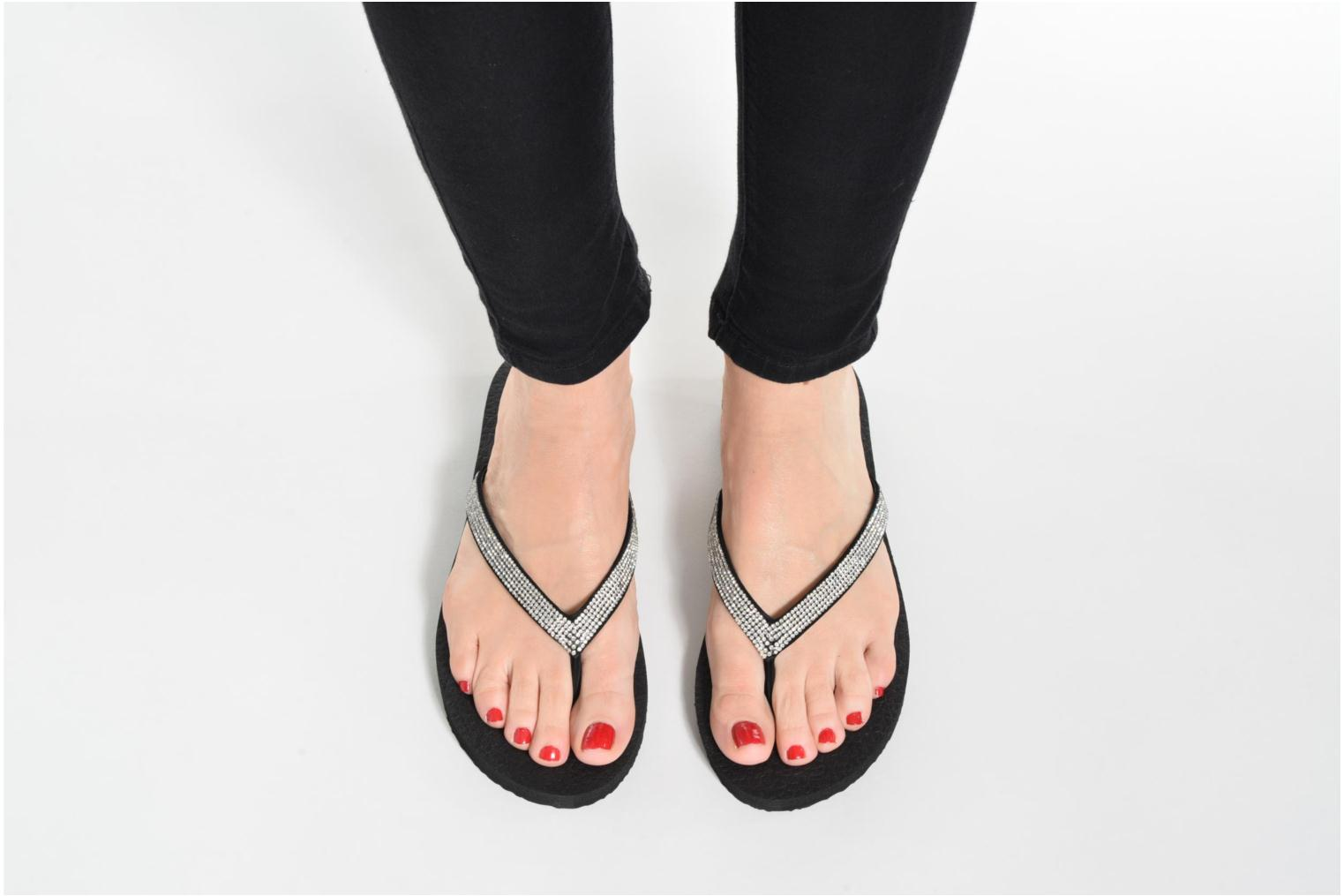 Flip flops Skechers Meditation Chill Vibes Black view from underneath / model view