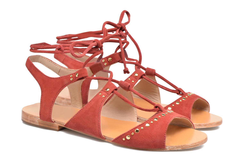 Sandales et nu-pieds Petite mendigote Osier Rouge vue 3/4