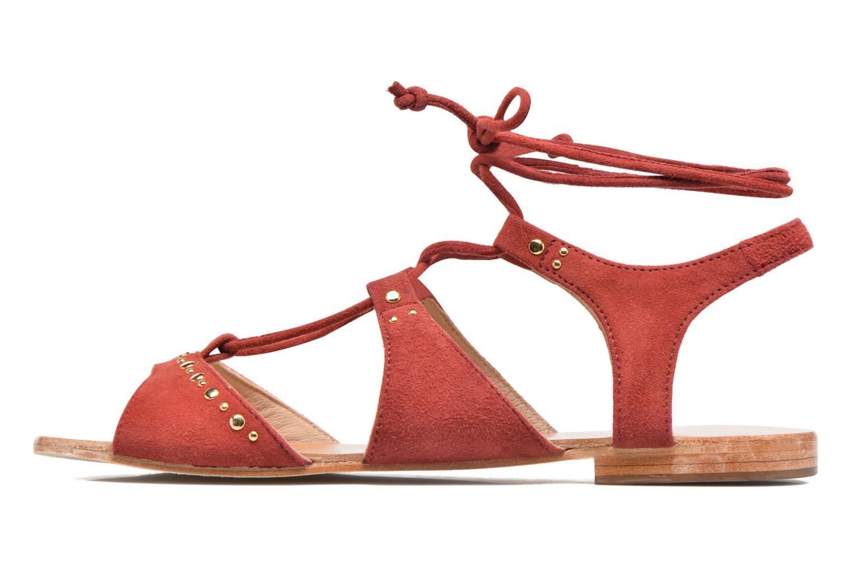 Sandales et nu-pieds Petite mendigote Osier Rouge vue face