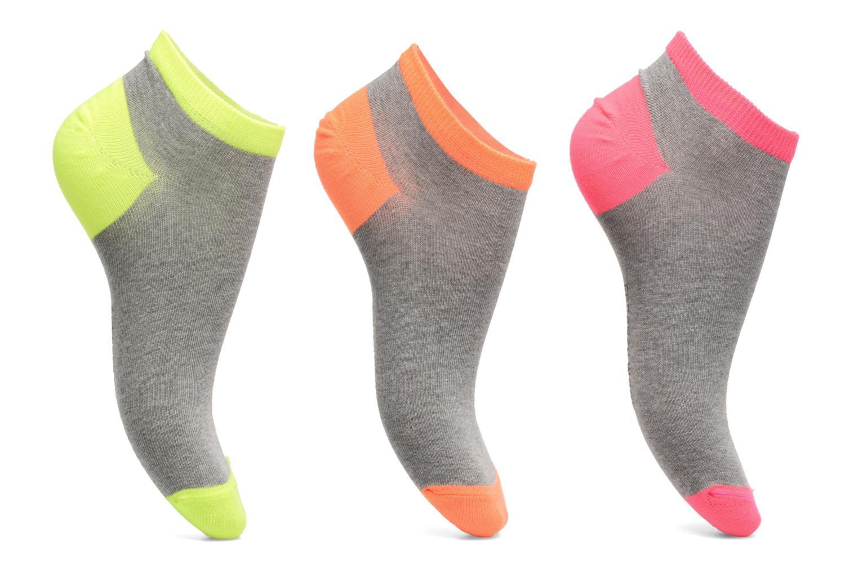 Chaussettes invisibles Femme fluo Pack de 3 Coton Gris/fluo