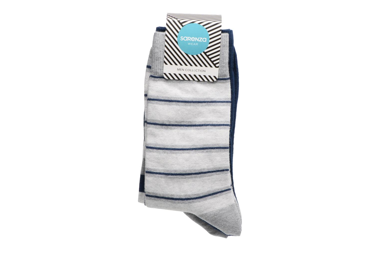 Chaussettes et collants Sarenza Wear Chaussettes Homme Pack de 3 rayures coton Bleu vue portées chaussures