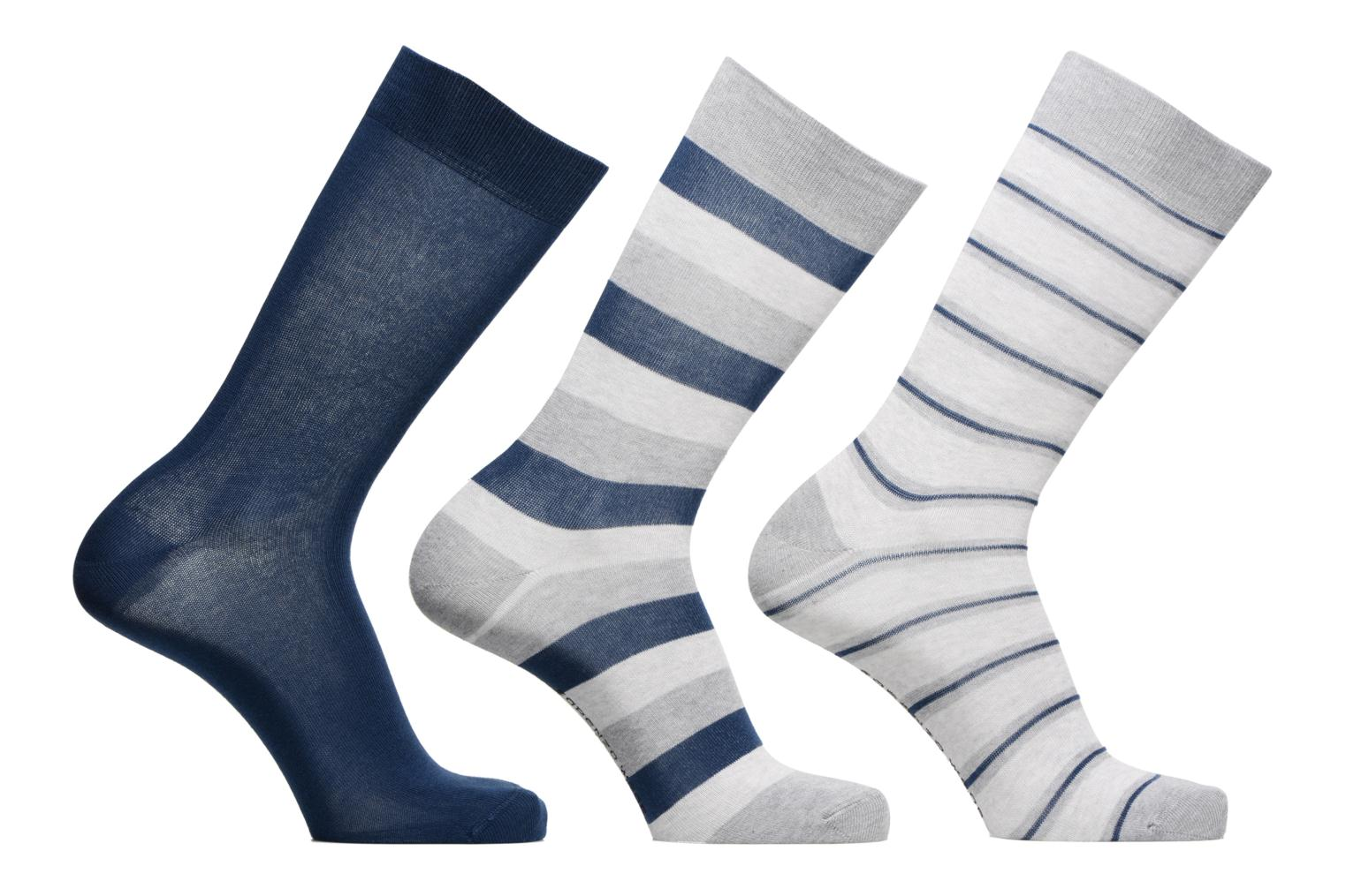 Socks & tights Sarenza Wear Chaussettes Homme Pack de 3 rayures coton Blue detailed view/ Pair view