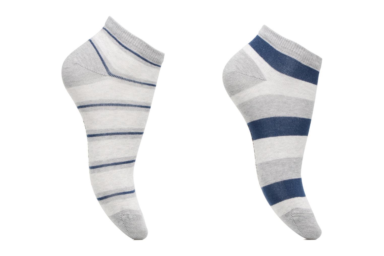 Chaussettes Garçon Pack de 2 invisibles Rayures Bleu/gris