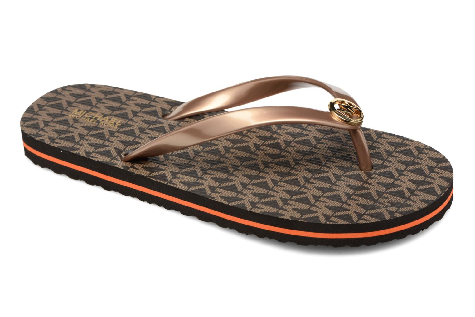 Flip flops Michael Michael Kors Mk Flipflop Stripe Brown detailed view/ Pair view
