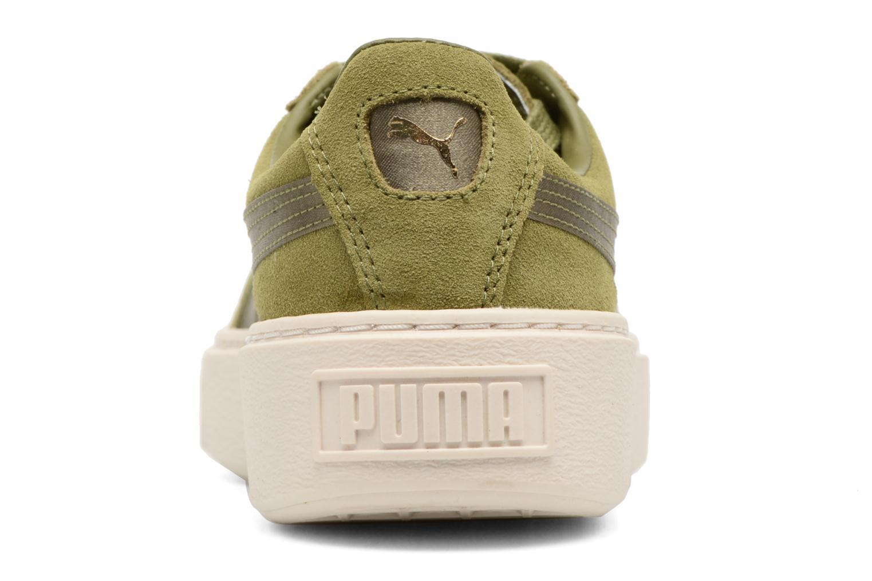 Baskets Puma WNS SUEDE PLATF SATIN Vert vue droite