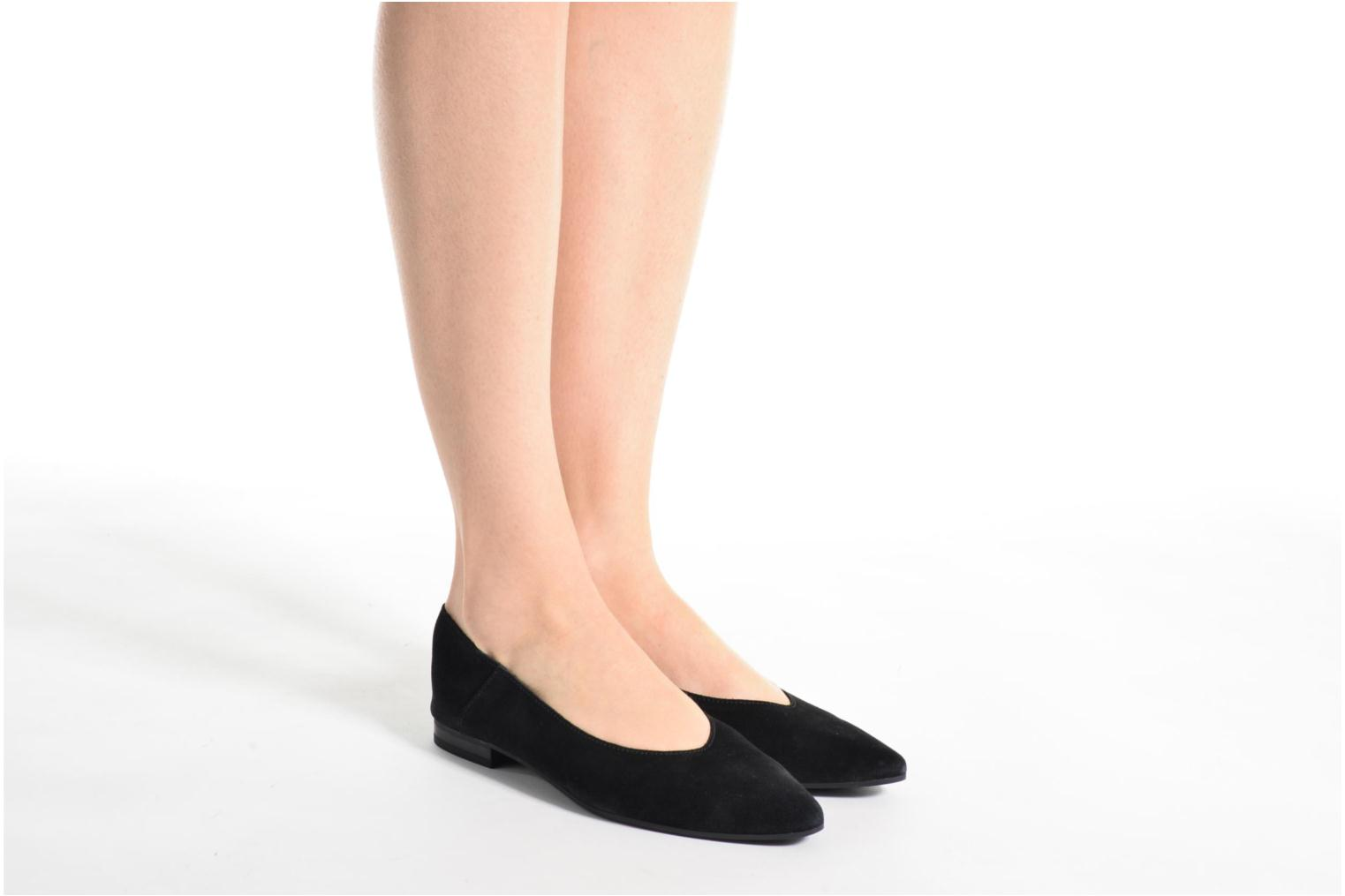 Ballet pumps Pieces Palentina Suede Ballarina Black Black view from underneath / model view