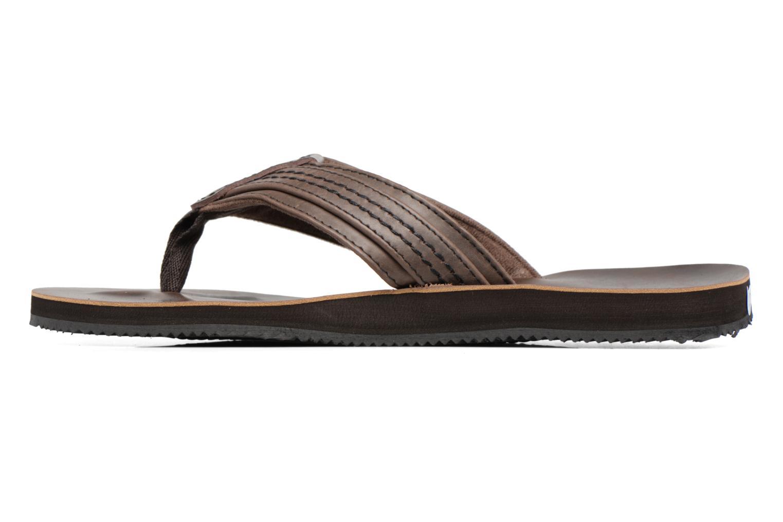 Infradito Jack & Jones Bob leather sandal Marrone immagine frontale