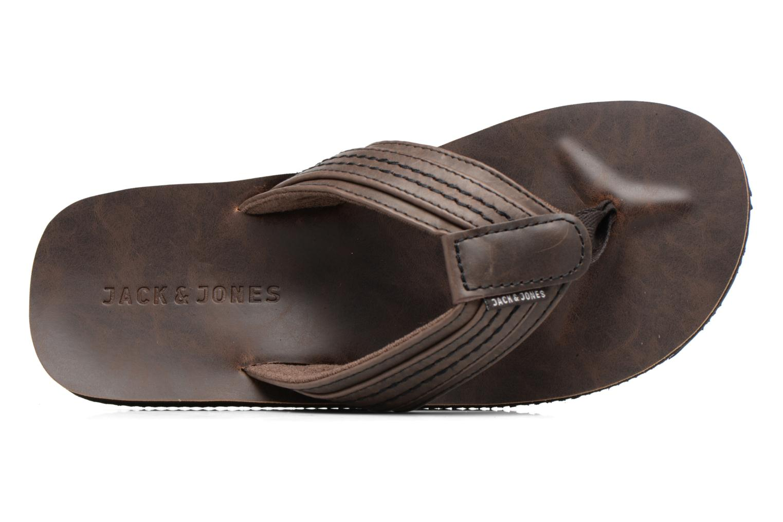 Tongs Jack & Jones Bob leather sandal Marron vue gauche