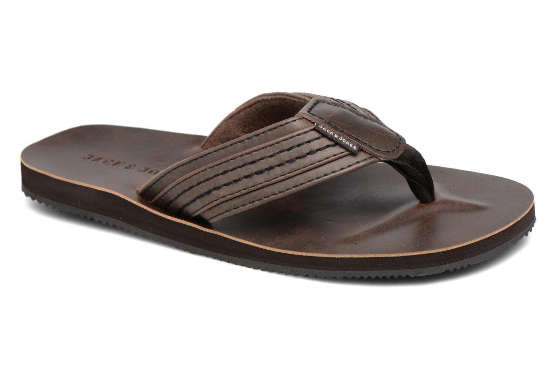 Tongs Jack & Jones Bob leather sandal Marron vue détail/paire