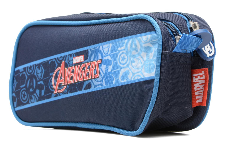 Scolaire Avengers Trousse double Bleu vue droite