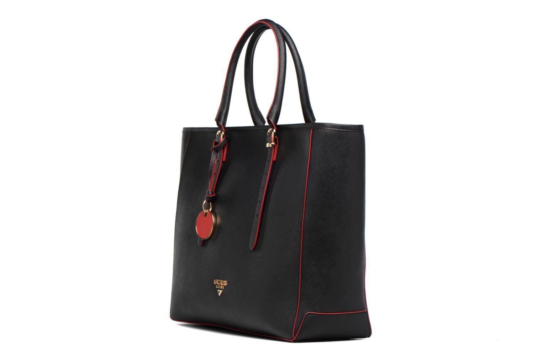 Sacs à main Guess Cabas Saffiano Lady Luxe Noir vue portées chaussures