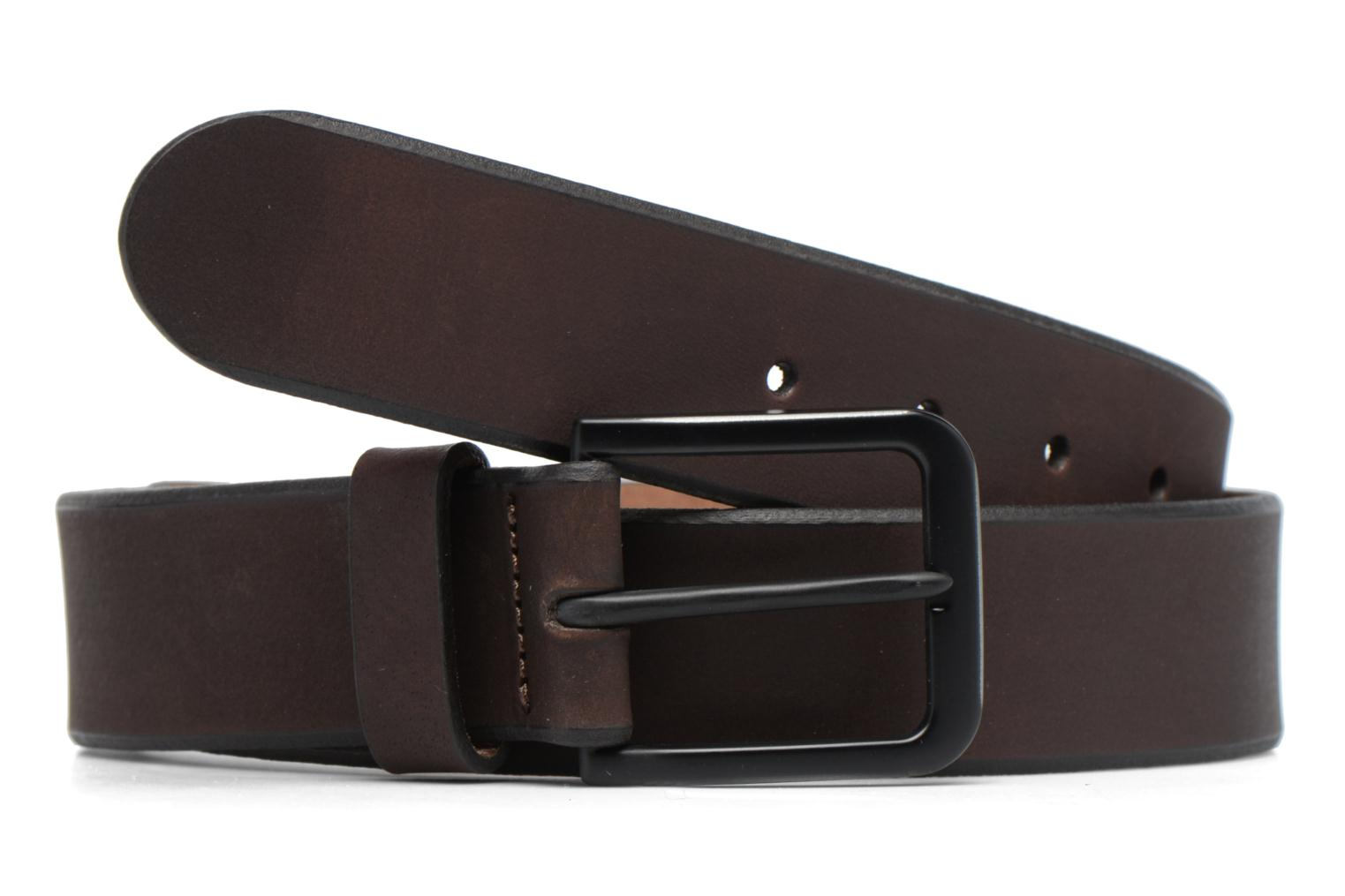 Black Buckle Leather Belt 40mm Dark Brown
