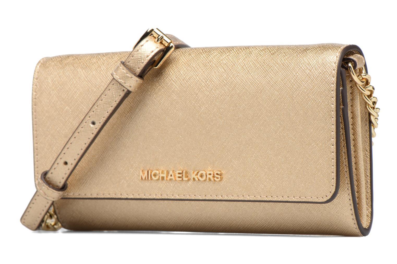 Sacs à main Michael Michael Kors Jet Set Wallet on a chain Or et bronze vue portées chaussures