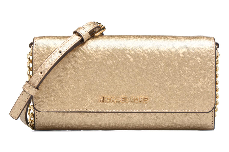 Bolsos de mano Michael Michael Kors Jet Set Wallet on a chain Oro y bronce vista de detalle / par
