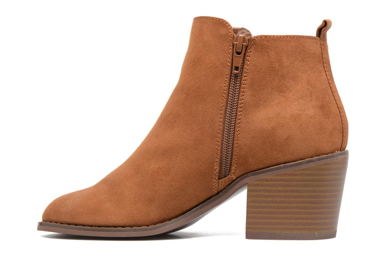 Bianca zip heeled bootie Umber cognac