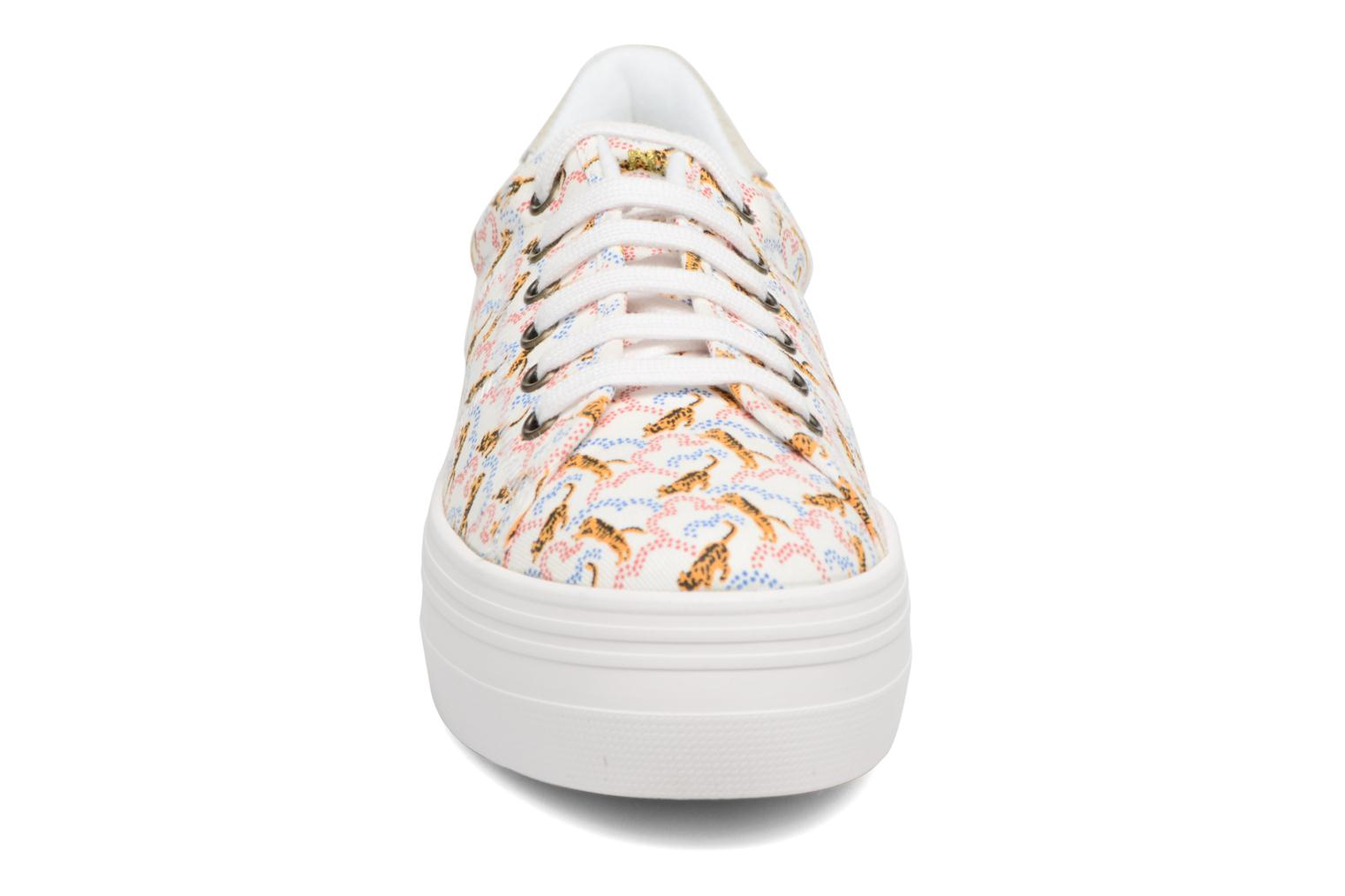 Sneakers No Name Plato sneaker pink twill print tiger Wit model