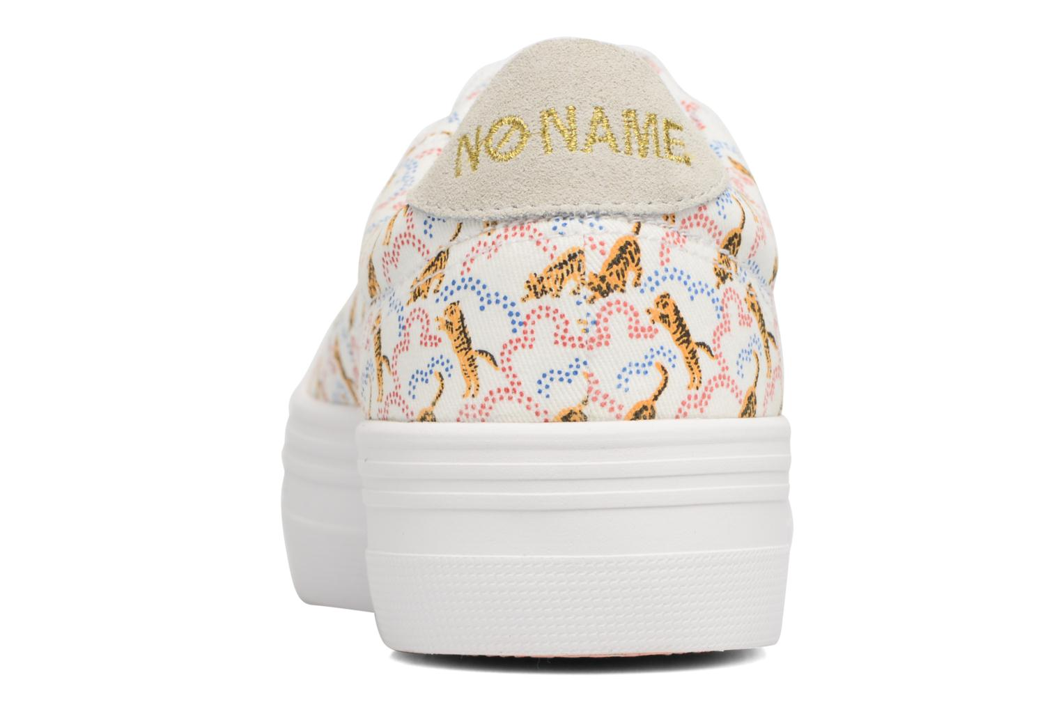 Sneakers No Name Plato sneaker pink twill print tiger Wit rechts