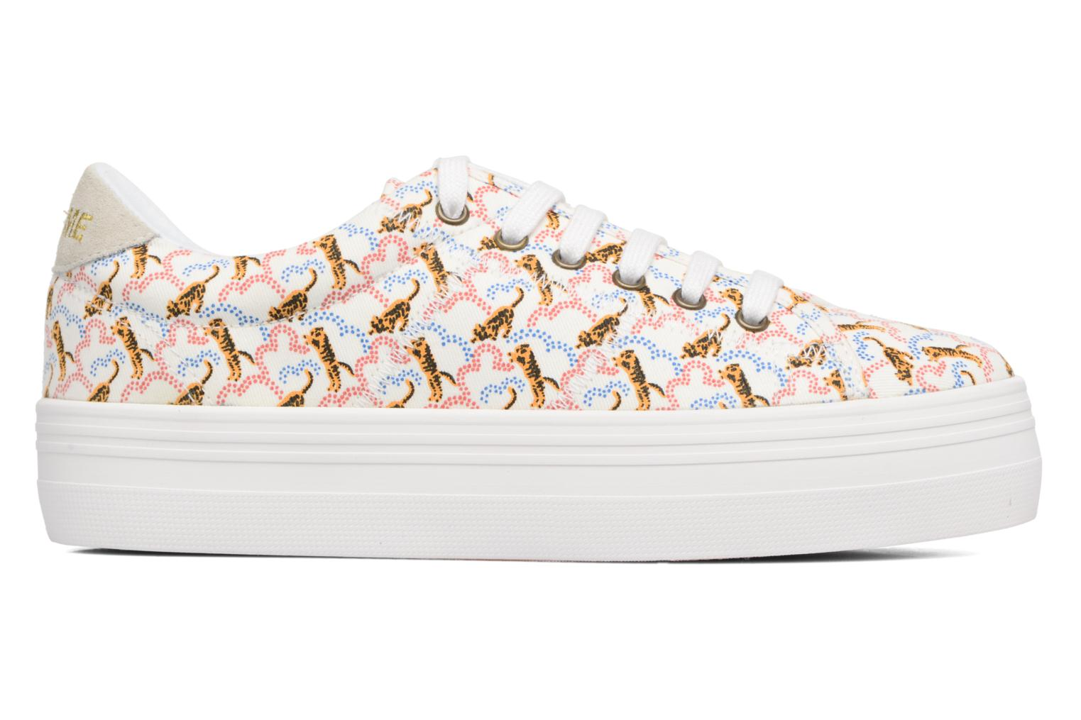 Sneakers No Name Plato sneaker pink twill print tiger Wit achterkant