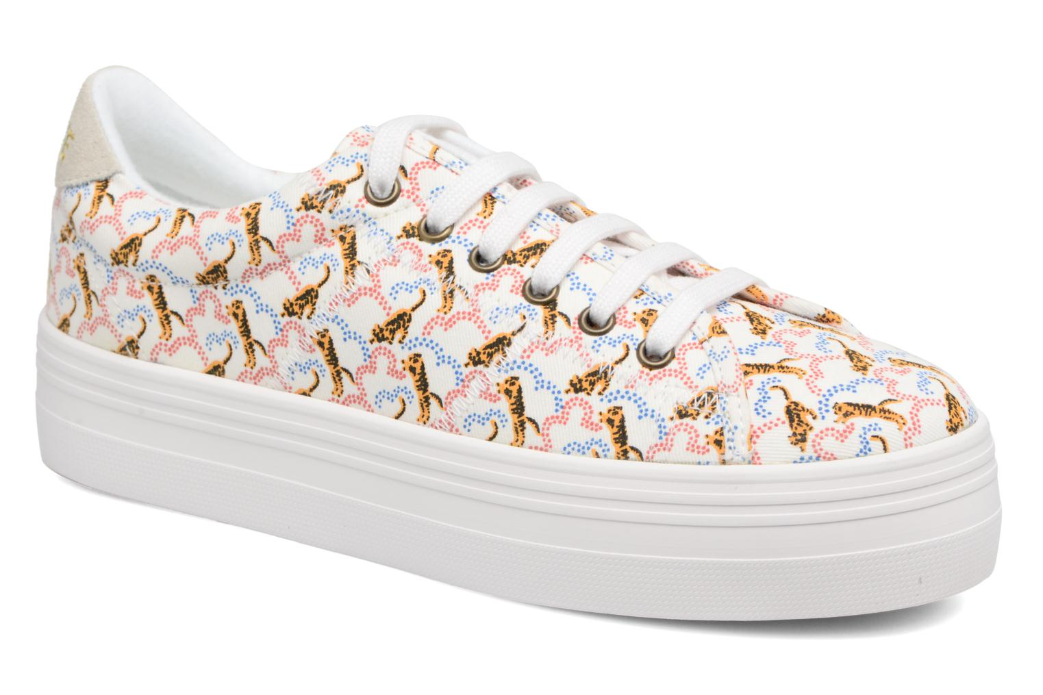 Sneakers No Name Plato sneaker pink twill print tiger Wit detail