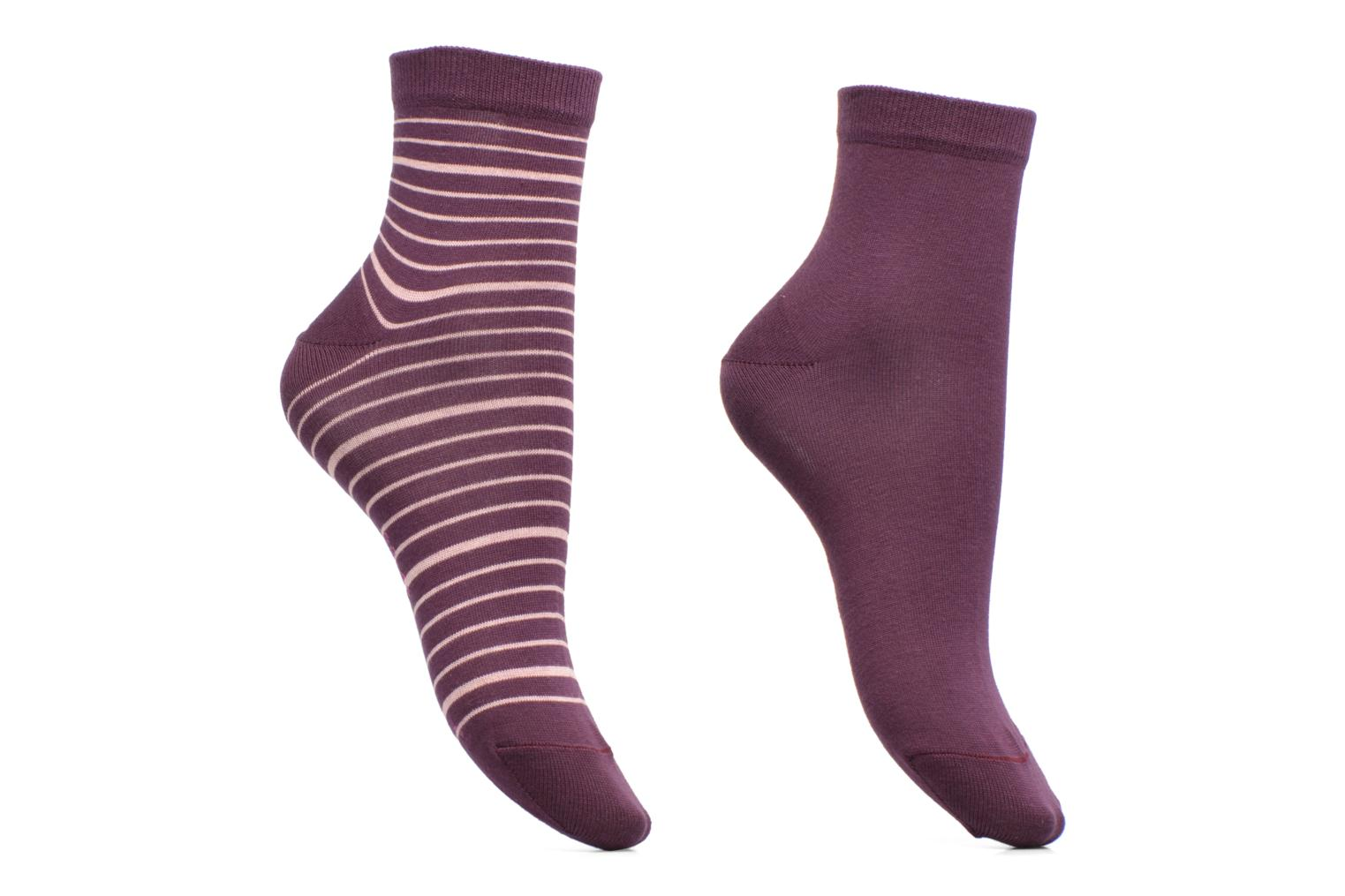 Chaussettes Stripe Mix Lot de 2 8722 plumberry