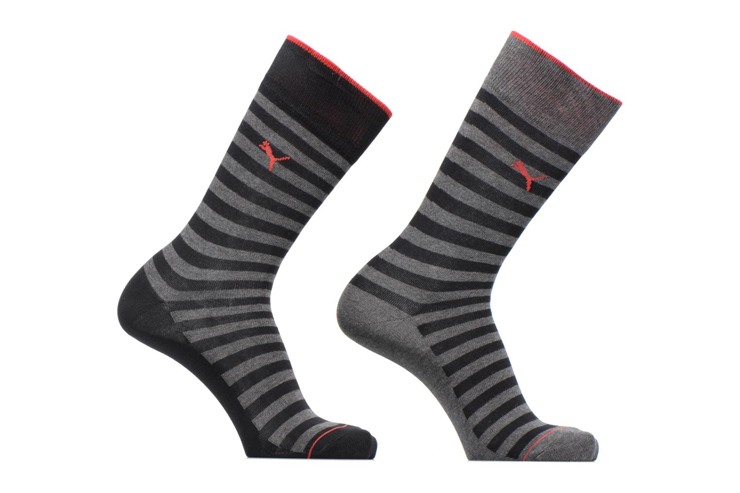 CLASSIC SOCKS LOT DE 2 200 RAYURES BLACK