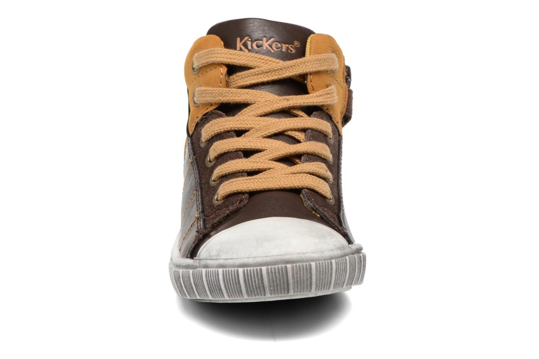 Baskets Kickers Bichocoss Marron vue portées chaussures