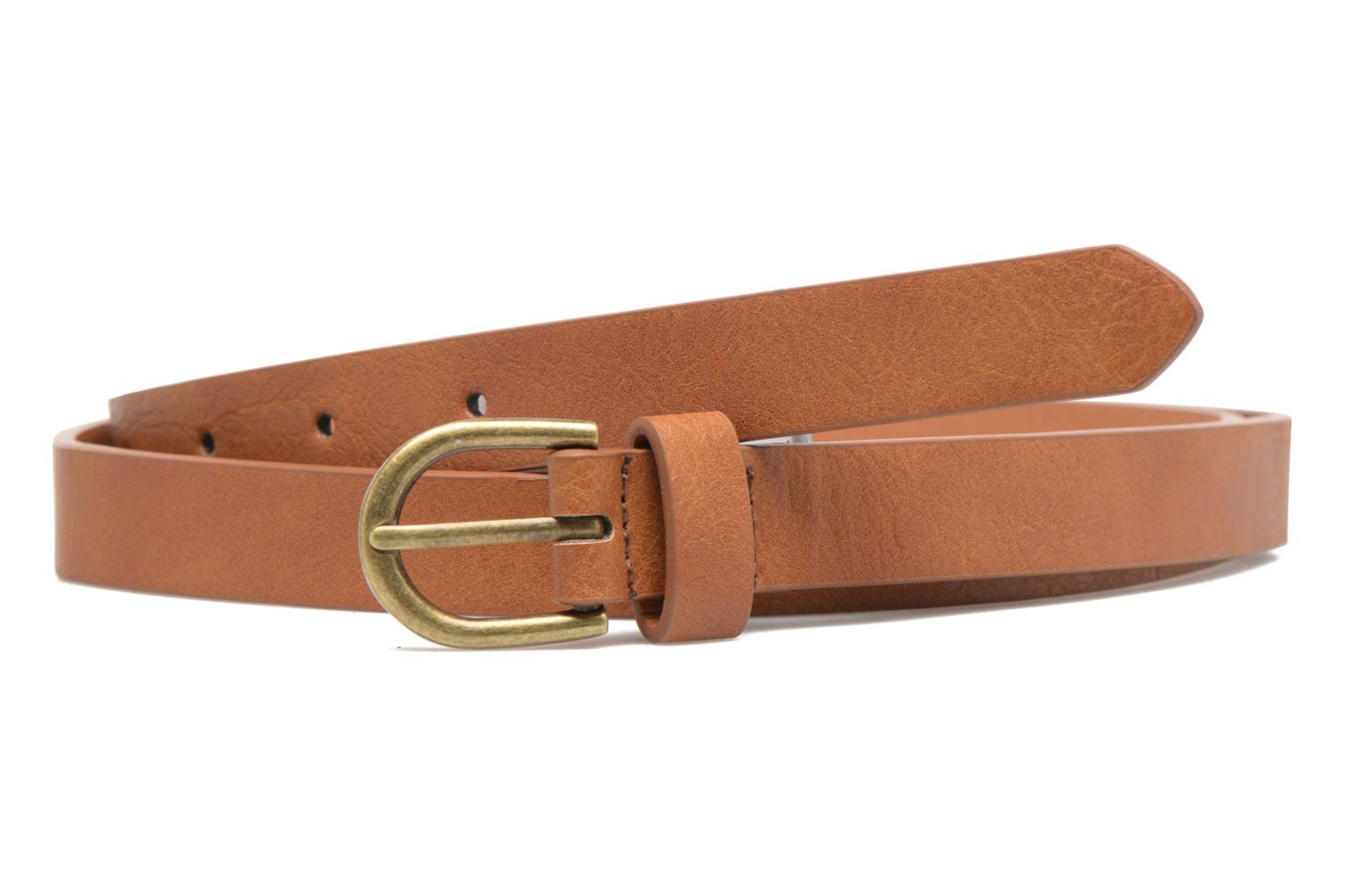 Belts Pieces Elegance Slim Leather belt 18mm Brown detailed view/ Pair view