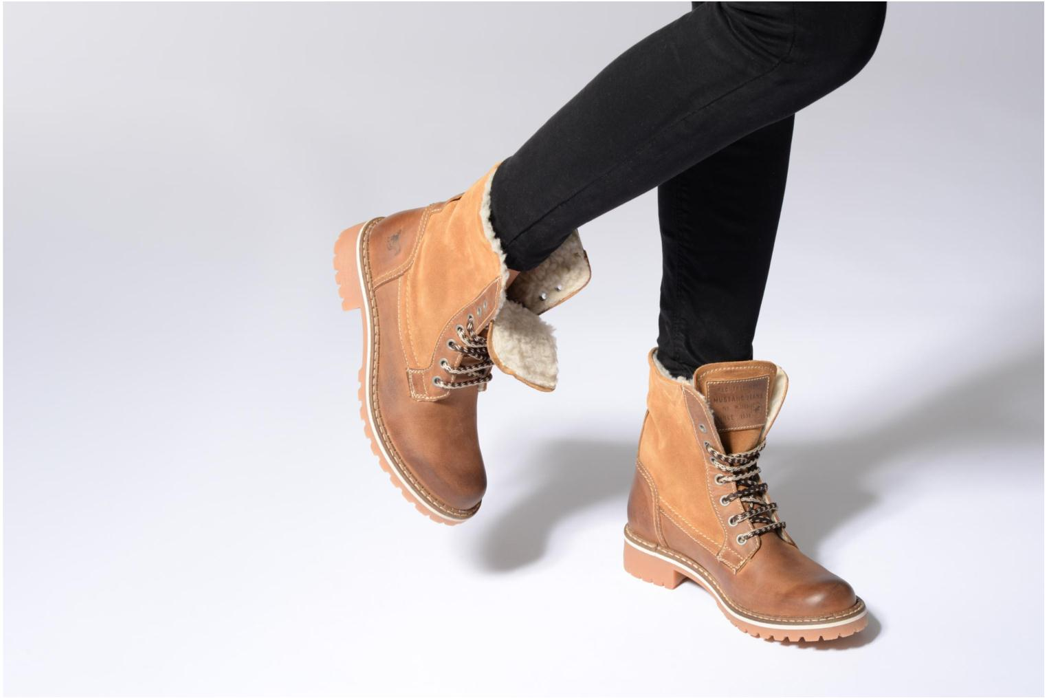 Ankle boots Mustang shoes Guibaj Brown view from underneath / model view