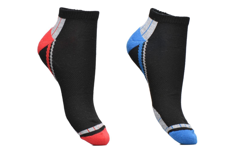Socquettes courtes sport Xtemp Lot de 2 Noir motif rouge feu / bleu mer