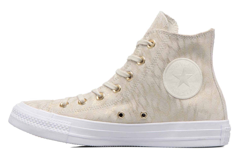 Baskets Converse Chuck Taylor All Star Shimmer Suede Hi Beige vue face