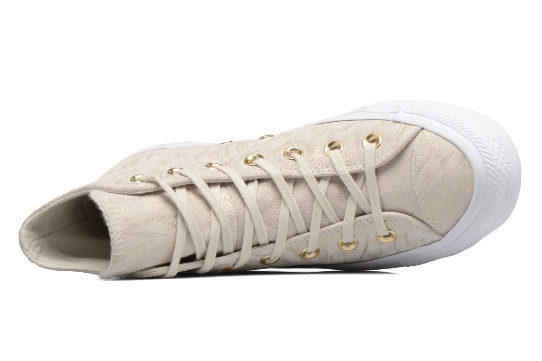 Baskets Converse Chuck Taylor All Star Shimmer Suede Hi Beige vue gauche