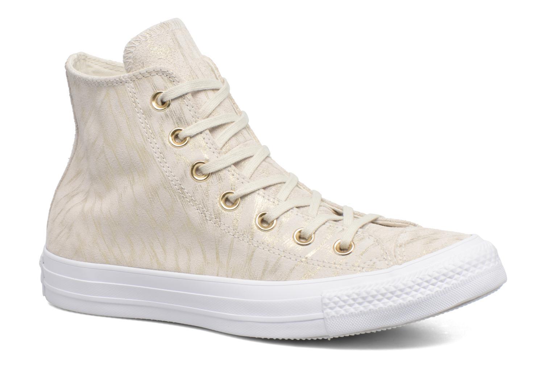Baskets Converse Chuck Taylor All Star Shimmer Suede Hi Beige vue détail/paire