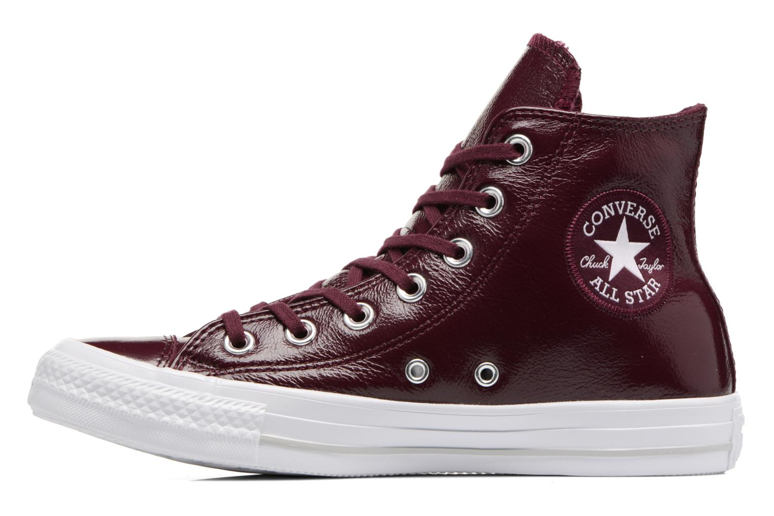Baskets Converse Chuck Taylor All Star Crinkled Patent Leather Hi Bordeaux vue face