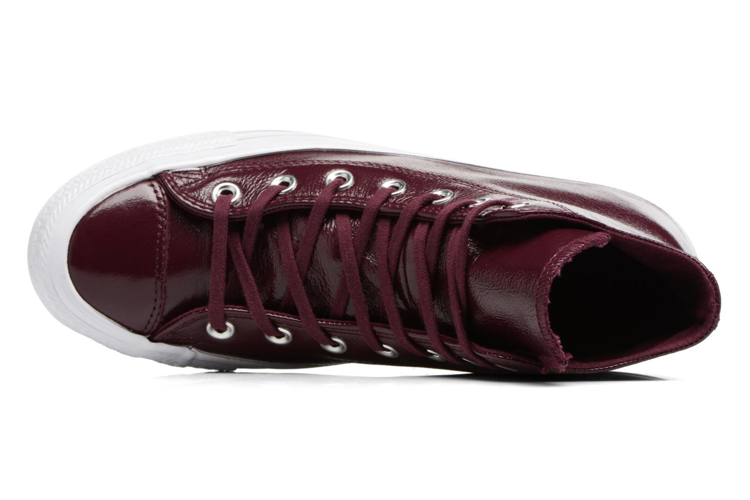 Baskets Converse Chuck Taylor All Star Crinkled Patent Leather Hi Bordeaux vue gauche