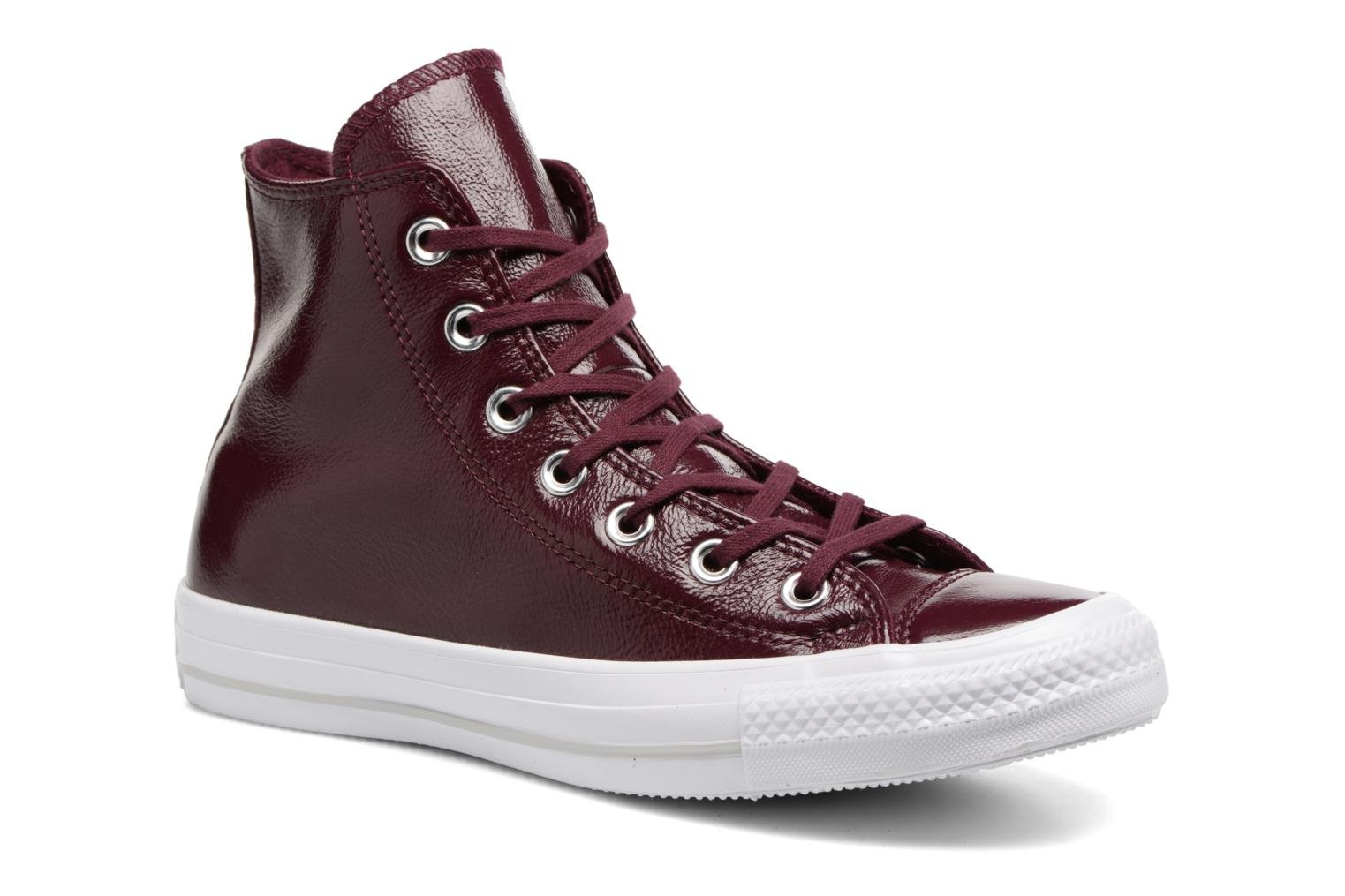 Converse Chuck Taylor All Star Crinkled Patent Leather Hi (Bordeaux) - Baskets chez Sarenza (310700)