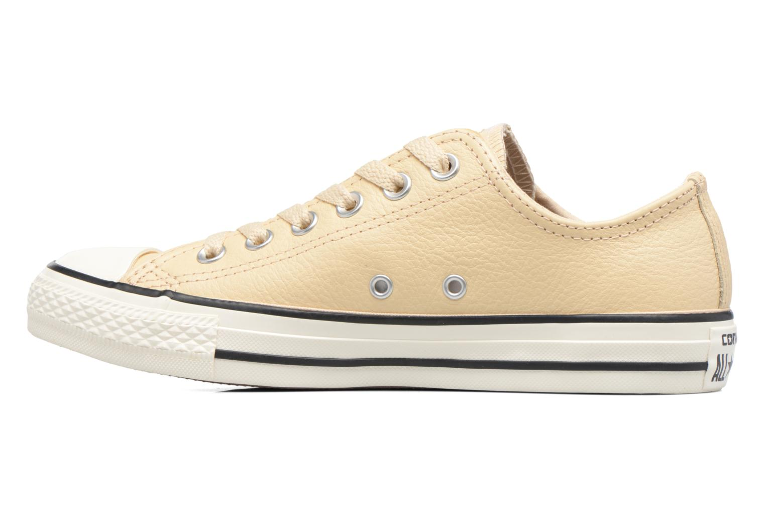 Baskets Converse Chuck Taylor All Star Tumbled Leather Ox Beige vue face