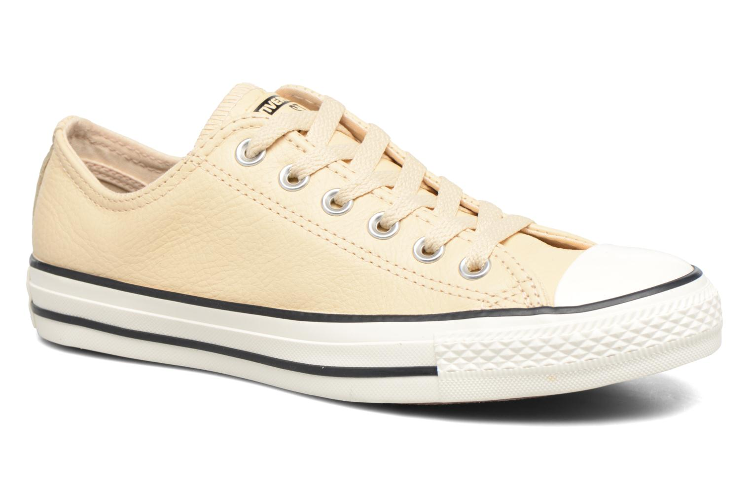 Baskets Converse Chuck Taylor All Star Tumbled Leather Ox Beige vue détail/paire