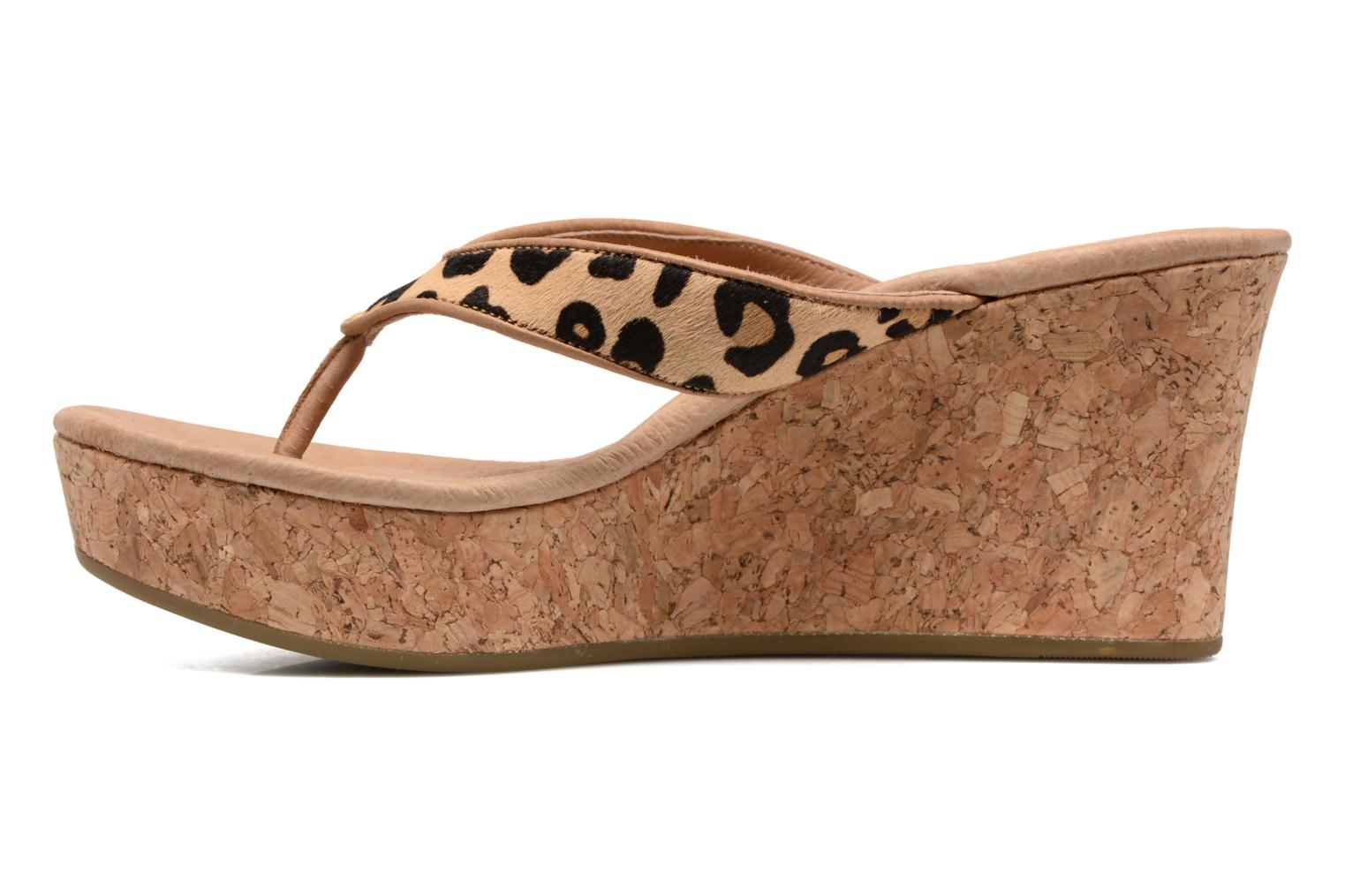 Tongs UGG Natassia Calf Hair Leopard 1 Beige vue face
