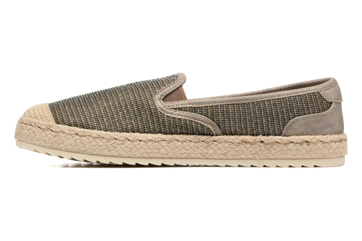 Espadrilles Mustang shoes Mocca Bronze and Gold front view