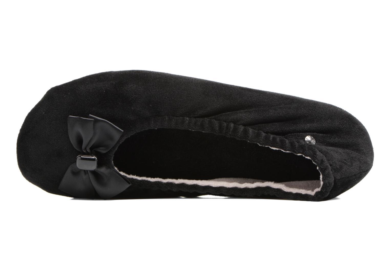 Chaussons Isotoner Ballerine micro velours bijoux Noir vue gauche