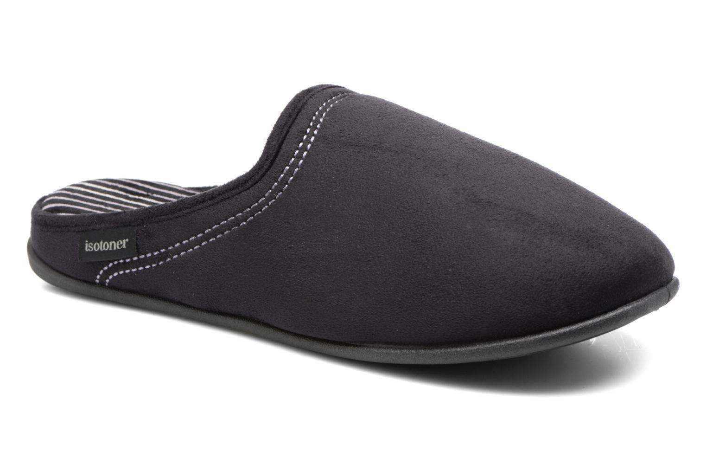 Chaussons Isotoner Mule compensée suédine Noir vue détail/paire