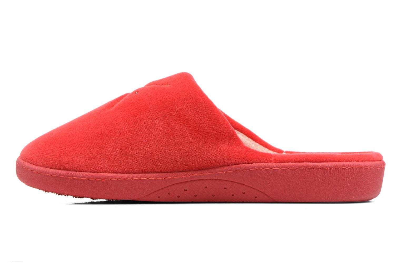 Pantuflas Isotoner Mule ergonomique micro velours Rojo vista de frente