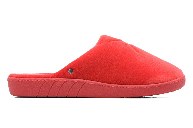 Pantuflas Isotoner Mule ergonomique micro velours Rojo vistra trasera