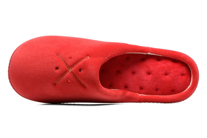 Pantuflas Isotoner Mule ergonomique micro velours Rojo vista lateral izquierda