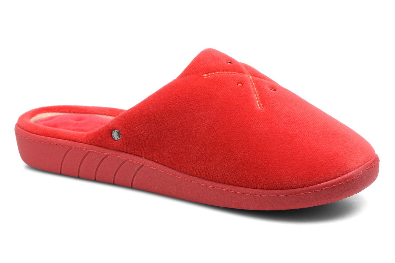 Chaussons Isotoner Mule ergonomique micro velours Rouge vue détail/paire