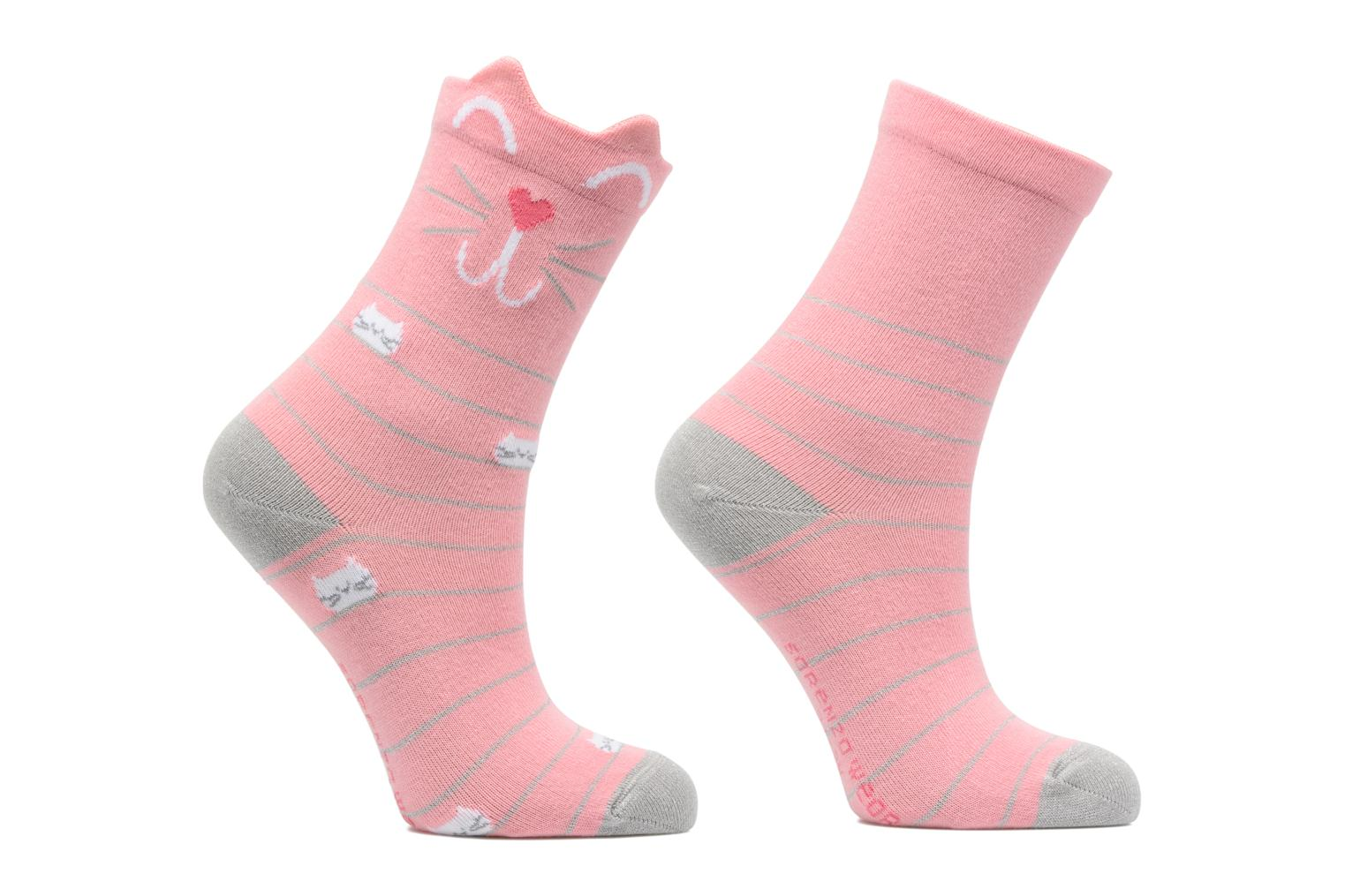 Chaussettes Fille Chat Pack de 2 coton Rose / lurex
